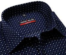 Koszula Marvelis Body Fit – ciemnoniebieska z wzorem w trikolorze - extra długi rękaw