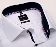 Koszula Olymp Modern Fit – biała z delikatnym wzorem i kolorową wewnętrzną stójką - krótki rękaw
