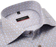 Koszula Eterna Modern Fit Twill - luksusowa z jasnoniebieskimi i beżowymi ornamentami