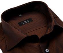 Koszula Eterna Comfort Fit – z drobnym brązowo-czarnym wzorem