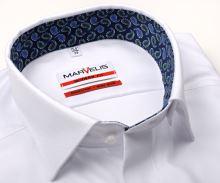 Marvelis Modern Fit – biała koszula w jodełkę z wyszytym wzorem, wewnętrzną stójką i mankietem