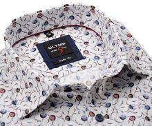 Koszula Olymp Level Five – designerska z kolorowymi kółkami - extra długi rękaw