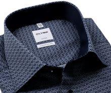 Koszula Olymp Comfort Fit – z ciemnoniebieskim wzorem, wewnętrzną stójką i mankietem