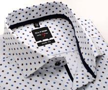 Koszula Olymp Level Five – z delikatną strukturą i niebiesko-brązowym wzorem - extra długi rękaw