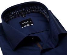Koszula Venti Modern Fit – ciemnoniebieska z delikatną strukturą i ciemnoniebieską stójką wewnętrzną