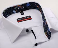 Koszula Marvelis Body Fit – biała z delikatną strukturą i kolorową wewnętrzną stójką