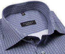 Koszula Eterna Comfort Fit - designerska niebiesko-biała z nadrukowanym wzorem - krótki rękaw