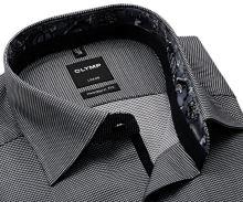 Koszula Olymp Modern Fit – z wyszytą czarną krateczką i szarą wewnętrzną stójką - extra długi rękaw