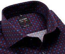 Koszula Olymp Level Five – ekskluzywna bordowa w czerwono-niebieski wzór