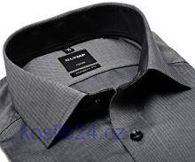 Koszula Olymp Modern Fit Natté – stalowoszara z delikatną strukturą i wewnętrzną stójką - extra długi rękaw