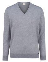 Sweter Olymp Level Five z wełny merino z domieszką jedwabiu - szary - dekolt w serek