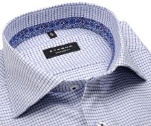 Koszula Eterna Comfort Fit – w niebieską krateczkę z wewnętrzną stojką i mankietem