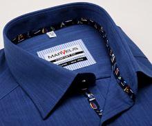 Koszula Marvelis Comfort Fit – niebieska z delikatną siateczką z wewnętrzną plisą - krótki rękaw