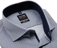Koszula Olymp Level Five – z niebiesko-beżowym wzorem i wewnętrzną stójką - extra długi rękaw