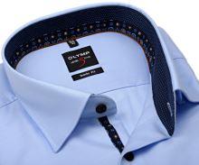 Koszula Olymp Level Five – luksusowa jasnoniebieska z diagonalną strukturą i wewnętrzną stójką