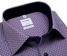Koszula Olymp Comfort Fit – z czerwono-niebieskim wzorem i wewnętrzną stójką- krótki rękaw