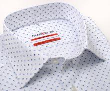 Koszula Marvelis Modern Fit – biała w niebieski wzór - krótki rękaw