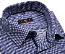 Koszula Eterna Modern Fit Twill – w ciomnoniebieską kratkę z wewnętrzną plisą - extra długi rękaw