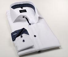 Koszula Venti Modern Fit – biała z delikatną strukturą i ciemnoniebieską stójką wewnętrzną