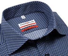 Koszula Marvelis Modern Fit - ciemnoniebieska z niebiesko-białym wzorem - extra długi rękaw