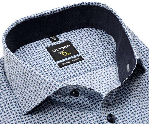 Koszula Olymp Super Slim – w niebieskie trójkąty i z wewnętrzną stójką - extra długi rękaw