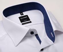 Koszula Olymp Modern Fit – biała z delikatną strukturą i granatową wewnętrzną stójką - krótki rękaw
