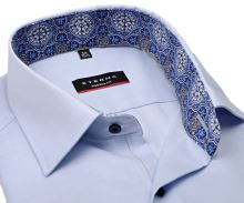 Koszula Eterna Modern Fit – jasnoniebieska o delikatnej strukturze z wewnętrzną stójką - krótki rękaw