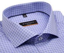 Koszula Eterna Slim Fit - z niebiesko-białym nadrukowanym wzorem - super długi rękaw