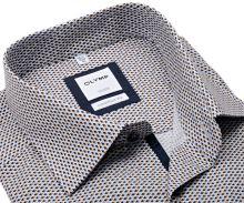 Koszula Olymp Comfort Fit – z beżowo-niebieskim wzorem i wewnętrzną plisą
