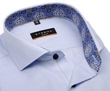 Koszula Eterna Slim Fit – jasnoniebieska o delikatnej strukturze z wewnętrzną stójką