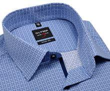 Koszula Olymp Level Five – w niebieski drobny wzór - krótki rękaw