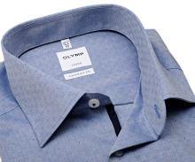 Koszula Olymp Comfort Fit – niebieska z wyszytym wzorem - extra długi rękaw