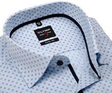 Koszula Olymp Level Five jodelka – jasnoniebieska z beżowo-niebieskim wzorem i wewnętrzną plisą