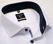 Koszula Olymp Super Slim – biała z delikatną strukturą i niebieską stójką wewnętrzną