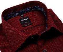 Koszula Olymp Modern Fit – ciemnoczerwona z wyszytym wzorem i wewnętrzną stójką i mankietem