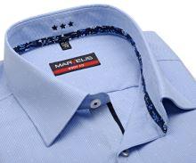 Koszula Marvelis Body Fit – w jasnoniebieską kratkę i wyszytym wzorem - extra długi rękaw