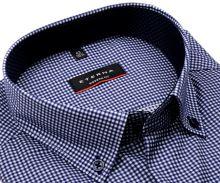 Koszula Eterna Modern Fit Twill – w ciemnoniebieską kratkę, z wewnętrzną stójką i mankietem