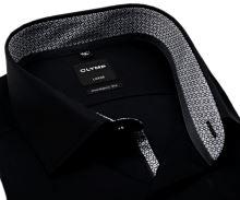Koszula Olymp Luxor Modern Fit – czarna z czarno-białą wewnętrzną stójką i mankietem