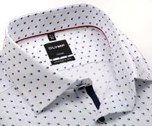 Koszula Olymp Luxor Modern Fit – biała z niebieskim wzorem - extra długi rękaw