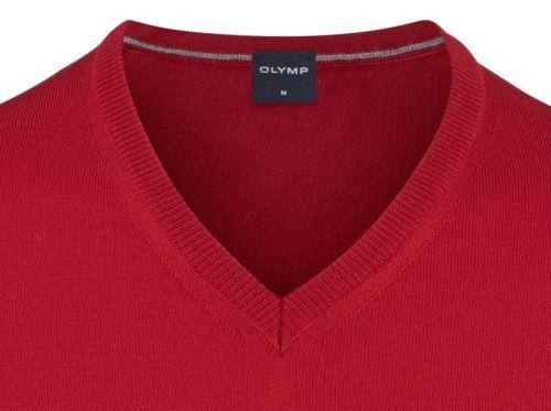 Sweter Olymp z wełny Merino - dekolt typu V - w kolorze czerwonym
