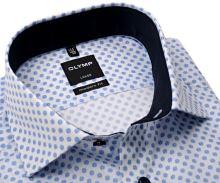 Koszula Olymp Modern Fit – biała w niebieskie kółeczka z wewnętrzną stójką - extra długi rękaw