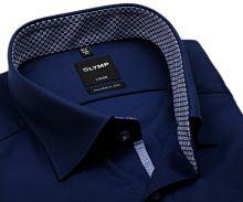 Koszula Olymp Modern Fit – ciemnoniebieska z wyszytym wzorem i czerwono-niebieską wewnętrzną stójką