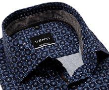 Koszula Venti Modern Fit – ciemnoniebieska w niebiesko-brązowy wzór z wewnętrzną stójką