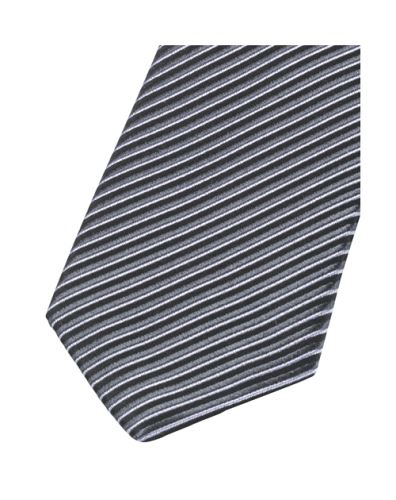 Krawat slim Olymp – tkane antracytowe paski