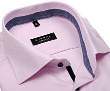 Koszula Eterna Comfort Fit Twill – różowa z niebieskobiałym kołnierzykiem, mankietami i plisą