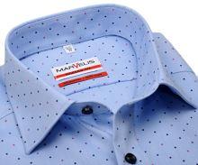Koszula Marvelis Modern Fit – jasnoniebieska w czerwono-niebieskie kropki - krótki rękaw