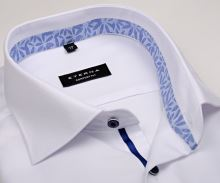 Koszula Eterna Comfort Fit – biała o delikatnej strukturze z kwiatową wewnętrzną stójką - krótki rękaw