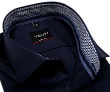 Koszula Venti Body Fit Twill – ciemnoniebieska z niebiesko-białą wewnętrzną stójką