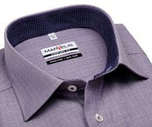 Marvelis Comfort Fit – fioletowa koszula w jodełkę z wyszytym wzorom i wewnętrzną stójką