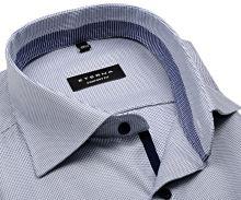 Koszula Eterna Comfort Fit Twill – niebieska z niebieskobiałym kołnierzykiem, mankietami i plisą